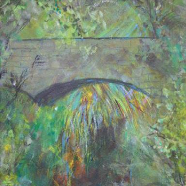 gemalte Brücke in Dschungel