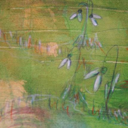 gemalte Schneeglöckchen auf Wiese